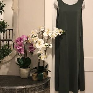 🍁 OLIVE MAXI DRESS OF COTTON & MODAL, LAYER WITH LONG SLEEVE SKINNY TOP